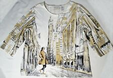 American City Scene Alfred Dunner 3/4 Slv Stretch Cotton Knit Tee Top Plus 1X EC