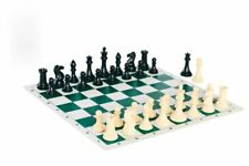 Quadruple Weight Tournament Natural Chess Set With Green Board Travel Portable