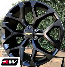 "20 inch Chevy Silverado 1500 Snowflake OE Replica Wheels 20x9"" Rims Satin Black"