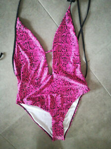 Badeanzug Hunkemöller 42 glänzend Glanz Nass Pink extravagant Sexy Einteiler neu