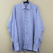 TURNBULL & ASSER French Cuff Blue Collared Button Up Dress Shirt Mens 16.5 T19