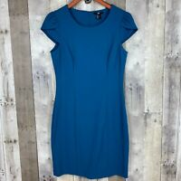 H&M Womens Size 8 Sheath Dress Teal Blue Cap Sleeve Scoop Neck Stretch