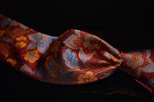 LNWOT Robert Talbott Carmel Woven Red Marigold Blue Maxi Floral Silk Tie RECENT