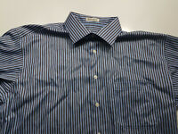 Pronto Uomo Mens Striped Size Large Long Sleeve Button Front Shirt Non Iron