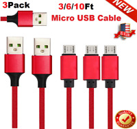 3/6/10FT Braided Micro USB Fast Charging Data SYNC Charger Cable Cord