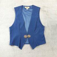 Vintage New Frontier Western Vest Metal Button, Blue, Size M