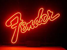 "New Fender Guitar Music Man Cave Real Glass Neon Light Sign 17""X14'' Q23S"