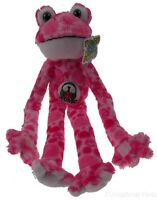 I Love Music Peace and Love Frog Pink Red Hanging Soft Plush Embroidered