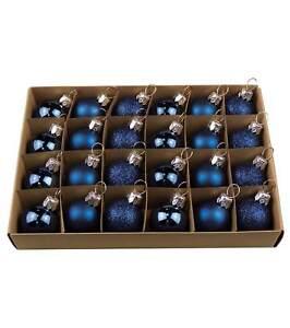 Mixed Finish Blue Baubles 30mm Dia Box Of 24 Shiny Matt Glitter Shatterproof