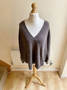 Poetry Brown Wool Cotton Blend V Neck Waffle Knit Jumper Size 20–22