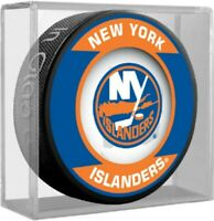 New York Islanders NHL Team Logo Retro Souvenir Hockey Puck (in Display Cube)