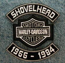 "MOTORCYCLE PATCH SET 4"" SHOVELHEAD ROCKERS DATES HARLEY DAVIDSON BAR & SHIELD"