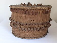 Antique Penobscot Indian Splint Storage Basket from Maine