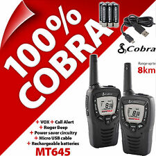 2 x Twin Pack dei Cobra MT645 2 vie Walkie Talkie Radio 8km PMR 446 per il Regno Unito/EU