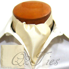MEN'S Mini Stripes CREAM Free Style Casual Ascot Cravat & Hanky 2pcs Set