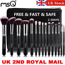 UK DELIVERY Black 15pcs Professional Makeup Brushes Set Kits Synthetic Hair MSQ