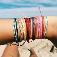 Rainbow Friendship Bracelet Thin Silk Weave Rope Handmade Hippie Jewellery Gifts