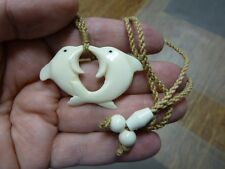 JBA-06 pair twin KISSING DOLPHINS aceh bovine bone Infinity PENDANT Necklace