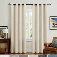 Linen Curtains for Bedroom Drapes for Living Room Burlap Flax 2 Panels
