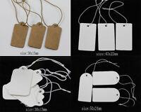100/500Pcs Jewelry Label Price Tags Elastic Pre-Strung White Kraft Paper