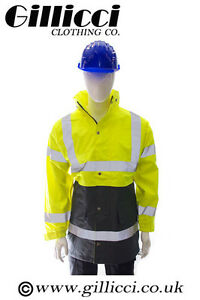 Contractor Safety Hi High Vis Visibility Two Tone Parka Long Padded Coat Jacket