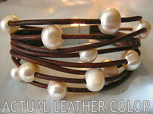 Diva South Sea Style Baroque Fresh Water Pearl & Leather Bracelet-FREE SHIPPING