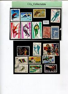 19 PCS USED SPORTS STAMPS * USA/ROMANIA/JAPAN ETC # S351