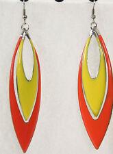 Dangle Earrings Two Tone Teardrop Yellow Thin Metal Lightweight Colorful Fun