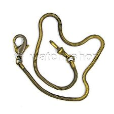 """14"""" Brass SNAKE Pocket Watch Chain Fob Chain Lobster Clasp Men Accessory FC08"""