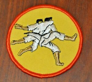 Vintage Judo Throw Patch Yellow Circle Embroidered Martial Arts Sew On 3x3-inch