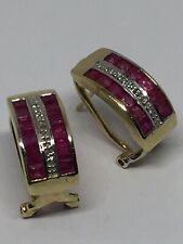 Beautiful 9ct Yellow Gold 3 Row Channel Set Ruby & Diamond Earrings