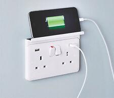 DOUBLE Mobile Phone / Tablet CHARGER SHELF Sits Over Mains PLUG Socket Outlet