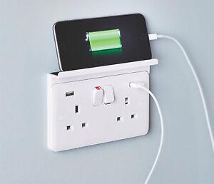 CHARGER SHELF Double Mobile Phone / Tablet Sits Over Mains PLUG Socket Outlet