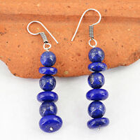 AAA 85.00 CTS NATURAL RICH BLUE LAPIS LAZULI BEADS .925 SILVER PLATED EARRINGS