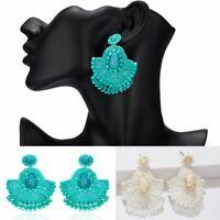 Fashion Geometric Rice Beads Fan-shaped Crochet Dangle Earrings Women Jewelry
