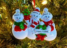 Snow Family Of 3 Personalized Christmas Tree Ornaments