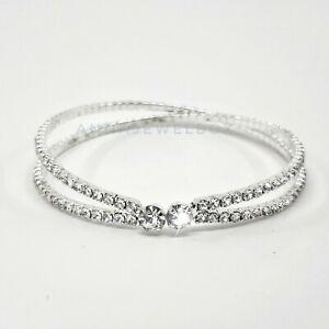 Quality Bridal Wedding Gift Silver Zirconia Tennis Bracelet Crystal Bangle UK
