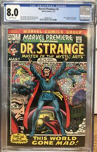 MARVEL PREMIERE #3 CGC 8.0 1st Dr Strange Begins•NIGHTMARE•BW Smith•MCU