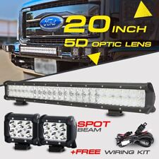 "5D 20INCH 294W CREE SPOT FLOOD COMBO +4"" 18W LED Work Light Bar Offroad 4X4WD 24"