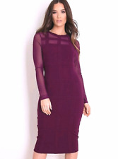 Womens Ladies Mesh Panel Bodycon Dress Party Occasion Sexy 8 10 12