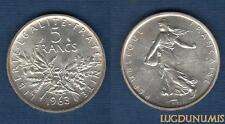 V République, 1959 - 5 Francs Semeuse en argent 1963 SPL