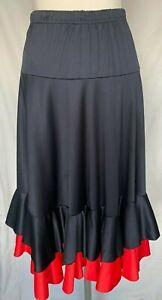 JLM Girls flamenco dance skirt 100% polyester 4 tiers with double hem frill sz10