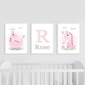 Dinosaur Nursery Prints Set of 3, Pink, Personalised, Girl, Kids Bedroom Decor
