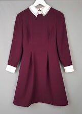 Ted Baker Shirt dress Timu embellished collared wine red shift TB 1 US 4