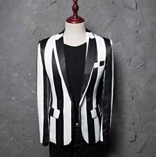 Punk Gothic Men White Black Stripes Blazer One Button Formal Dress Coat Lapel N1