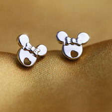 Solid Sterling Silver White Gold Plated Minnie Mouse Girls Stud Earrings