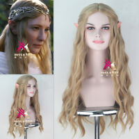 The Hobbit Galadriel Synthetic Long Wavy Golden Blonde Cosplay Wig with Elf Ears