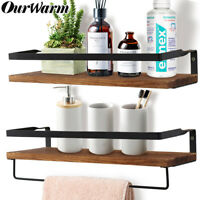 Wood Rustic Floating Shelf Wall Mounted Storage Shelves for Kitchen Home Display