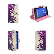 Hülle Für Sony Xperia E4G Violett und Creme Blumenmuster PU Leder Etui Cover