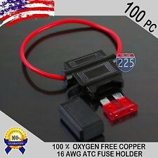 100 Pack 16 Gauge ATC In-Line Blade Fuse Holder 100% OFC Copper Wire + 1A - 40A